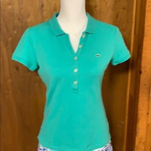 Lacoste fitted 5 button teal shirt size 38